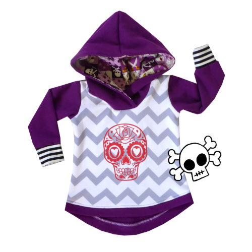 Purple Chevron Sugar Skull Hoodie by Punk Baby