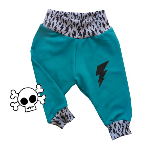 Teal Bolt Baby Pants by Punk Baby