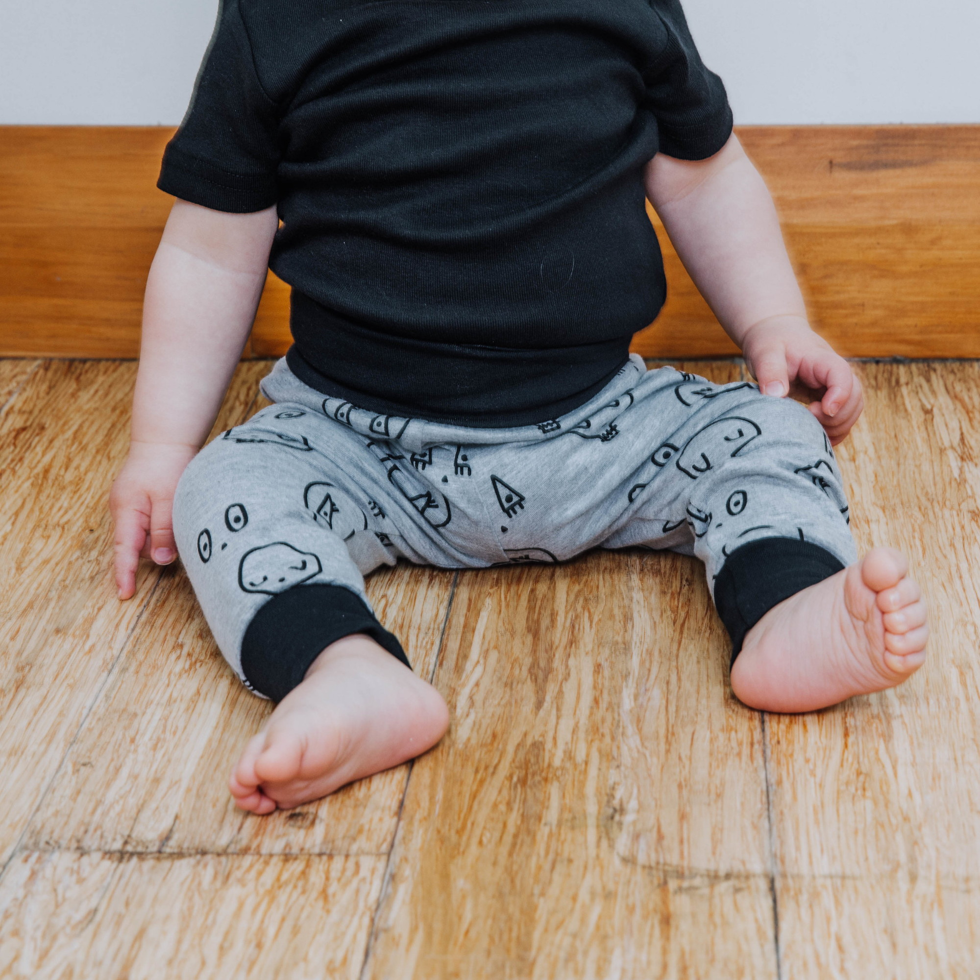 Grey Skulltown Baby Pants by Punk Baby