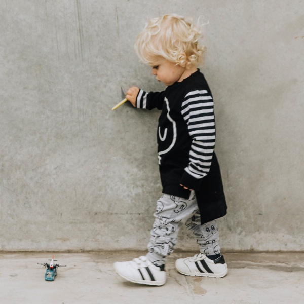 Grey Skull Joggers by Punk Baby