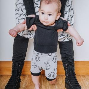 Grey Skulltown Shorties by Punk Baby