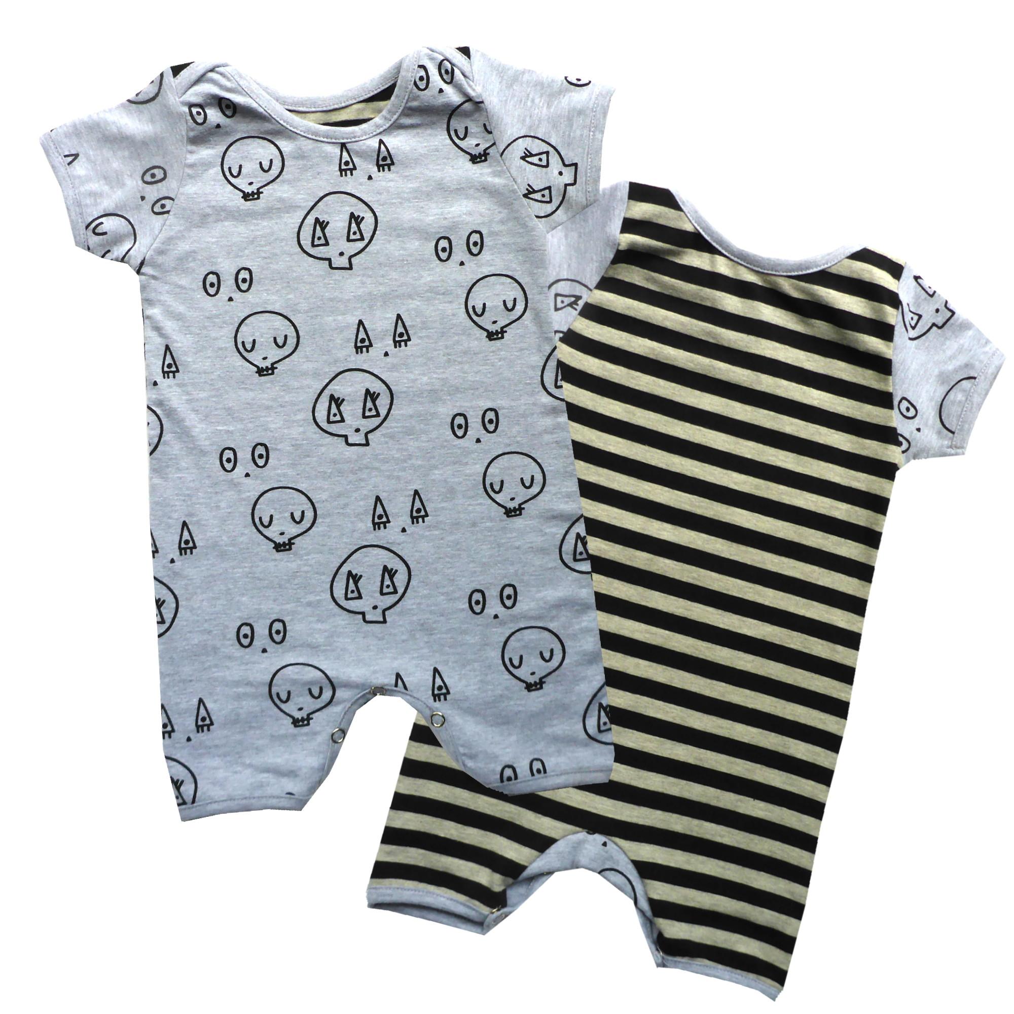 Grey Stripe Skulltown Romper Punk BabyPunk Baby