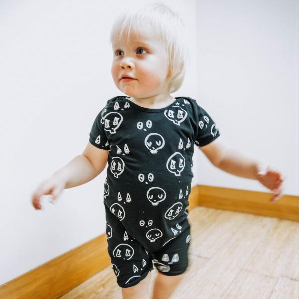 punk baby black skulltown romper