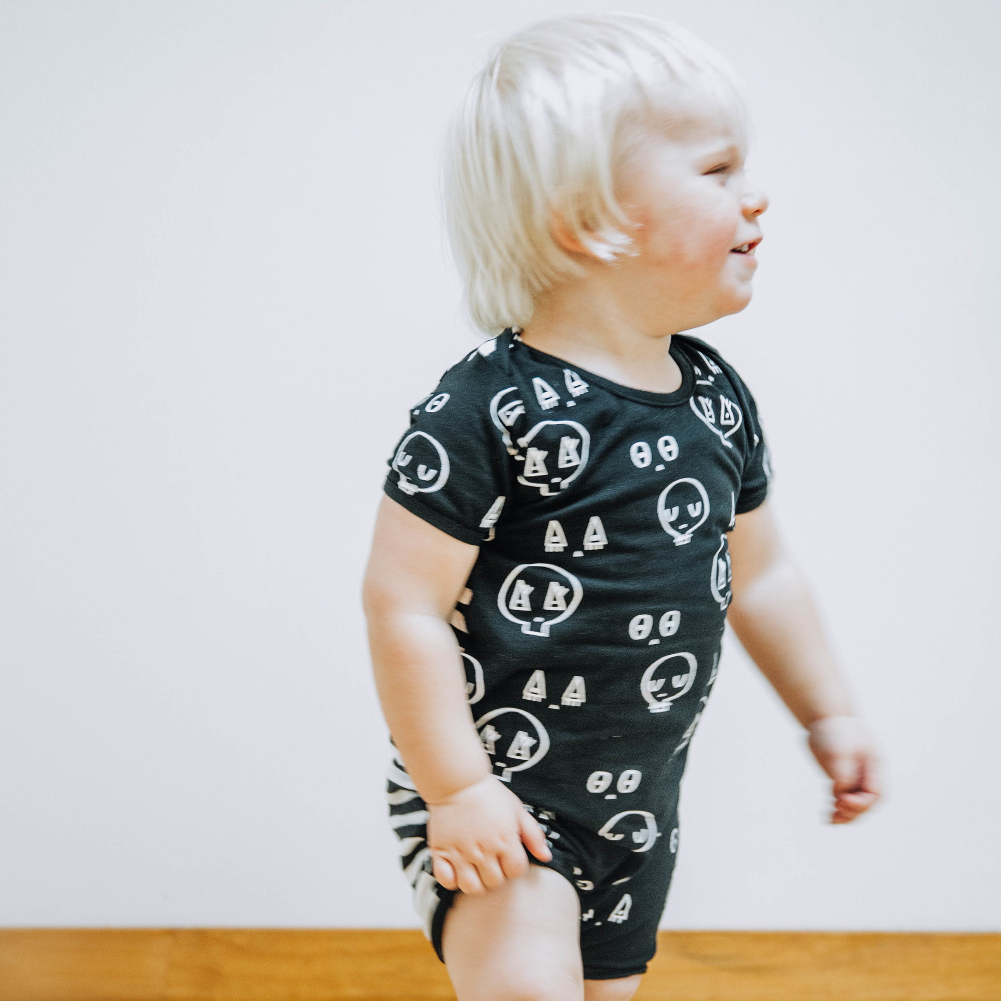 Black Stripe Skulltown Romper Punk BabyPunk Baby