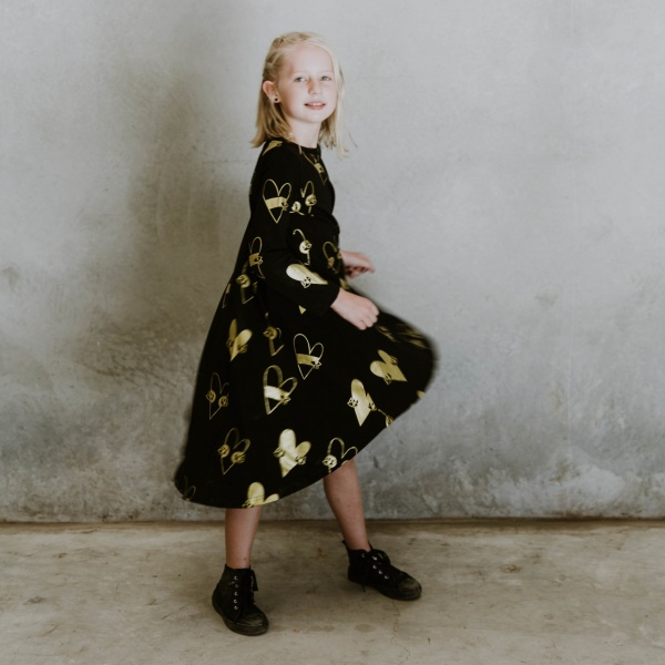 Heart Dress - Black & Gold