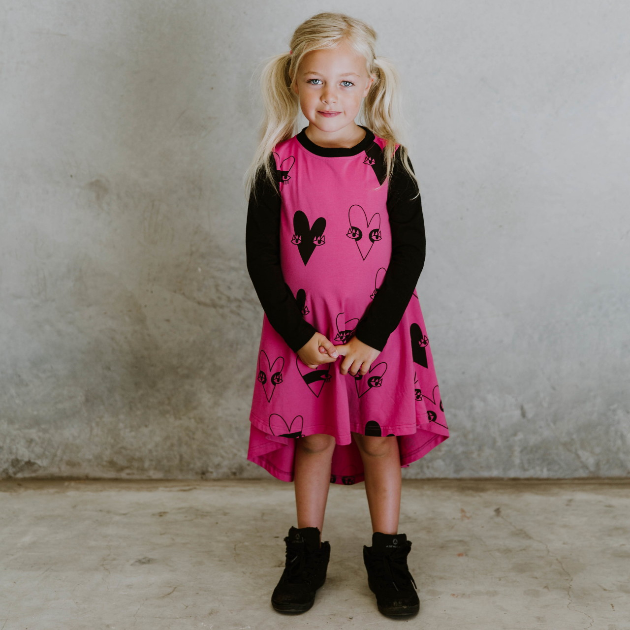 Heart Dress - Hot Pink & Black