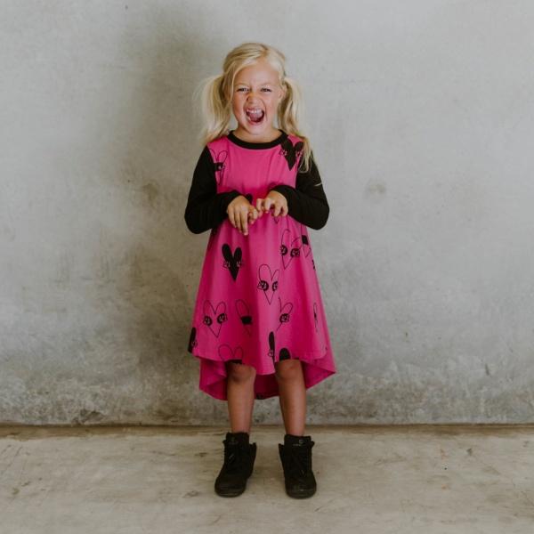 Heart Dress - Hot Pink & Black