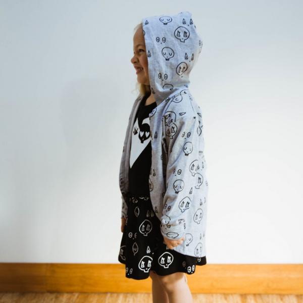 Grey Skulltown Cardy by Punk Baby