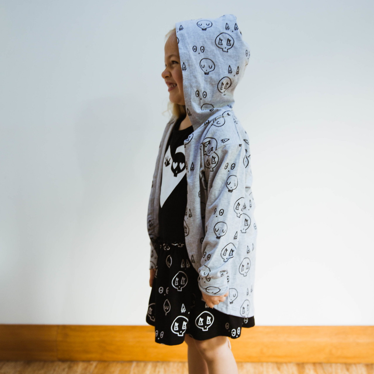 Grey Skulltown Cardy by Punk Baby
