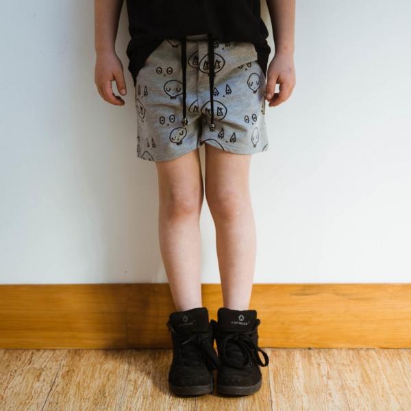 Grey Skulltown Shorts by Punk Baby