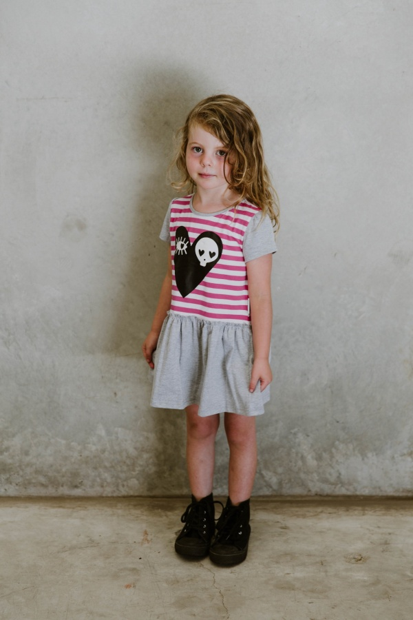 Pink Skull Dress by Punk Baby