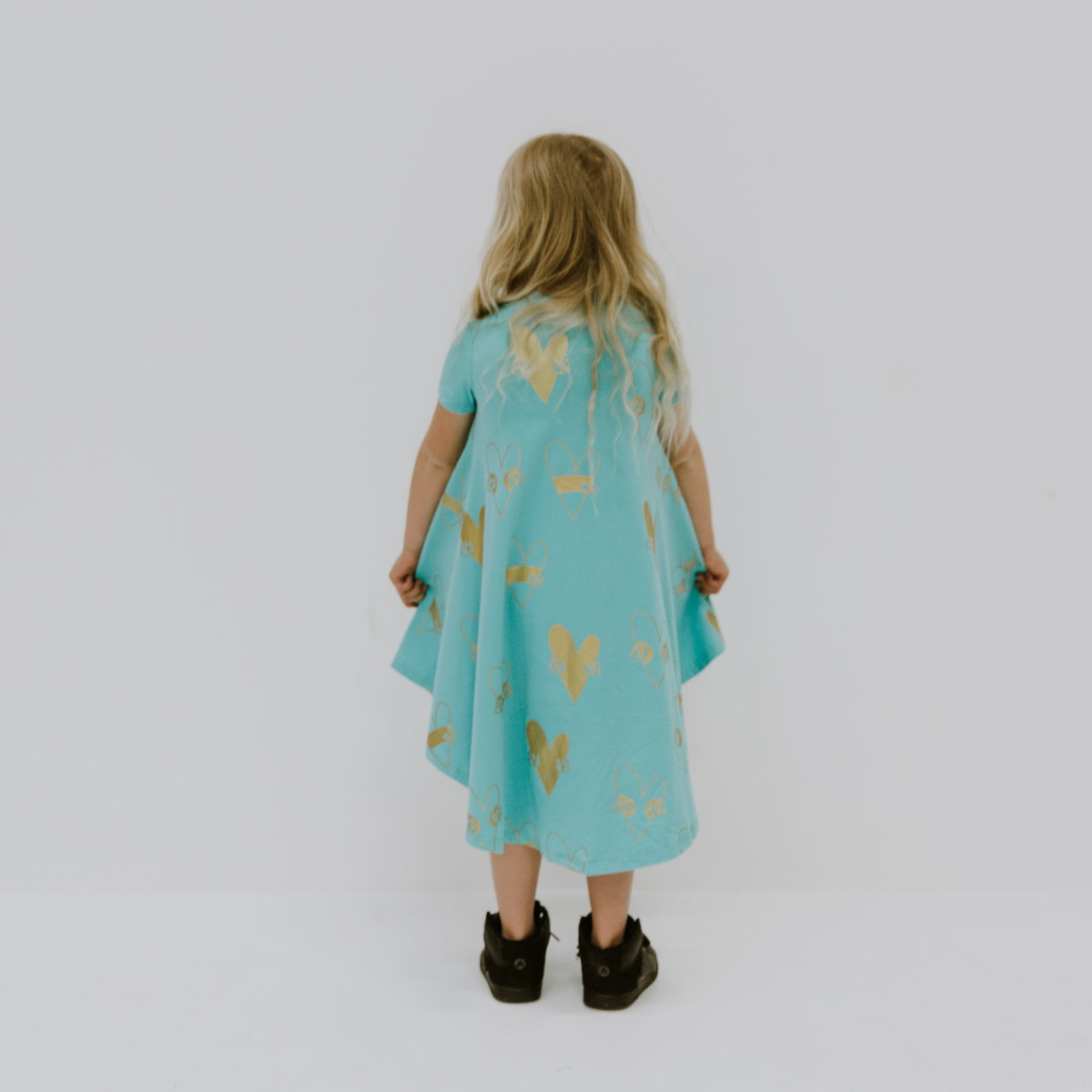 Amazing dress with metallic gold heart print by Punk Baby