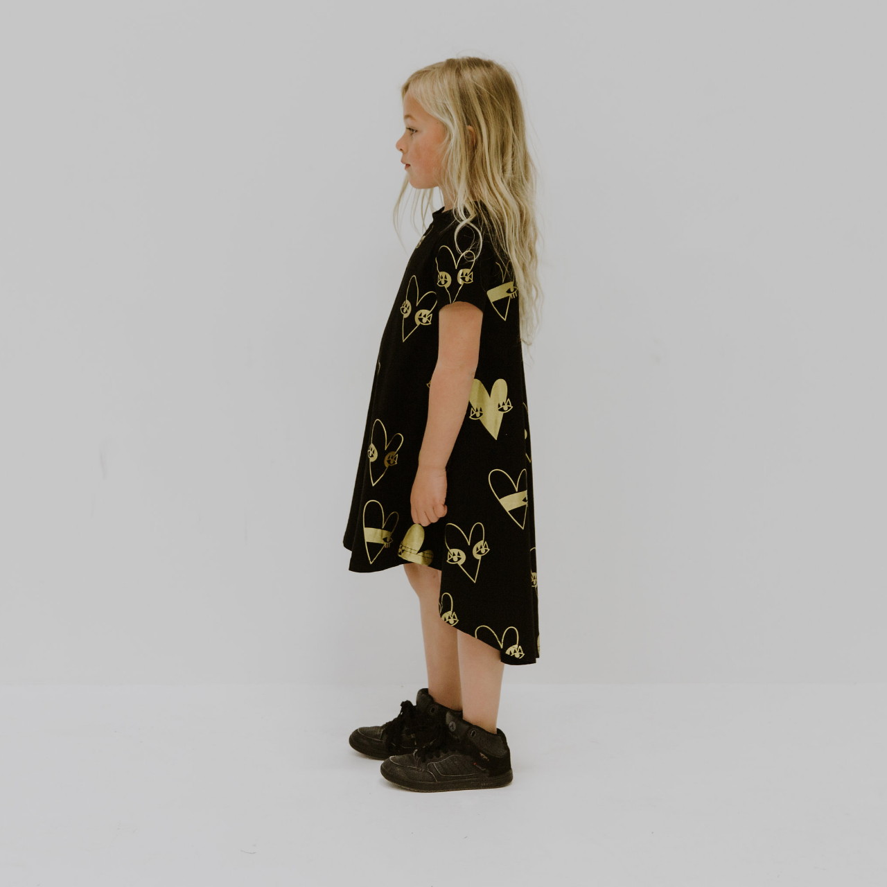 Black & Gold Heart Dress by Punk Baby