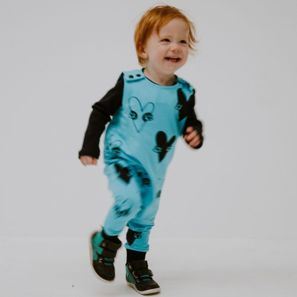 Aqua heart romper by Punk Baby