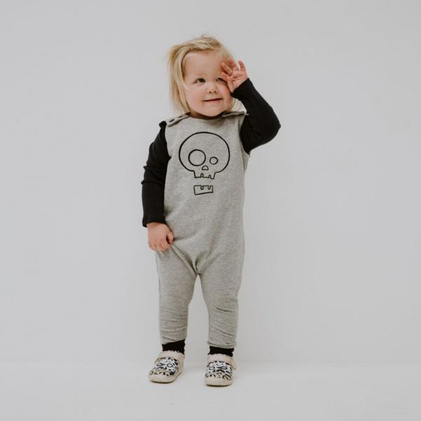 Grey Skull Romper by Punk Baby