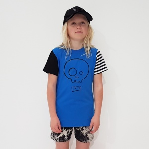 Blue Skull Tee with Mismatched Sleeves by Punk Baby