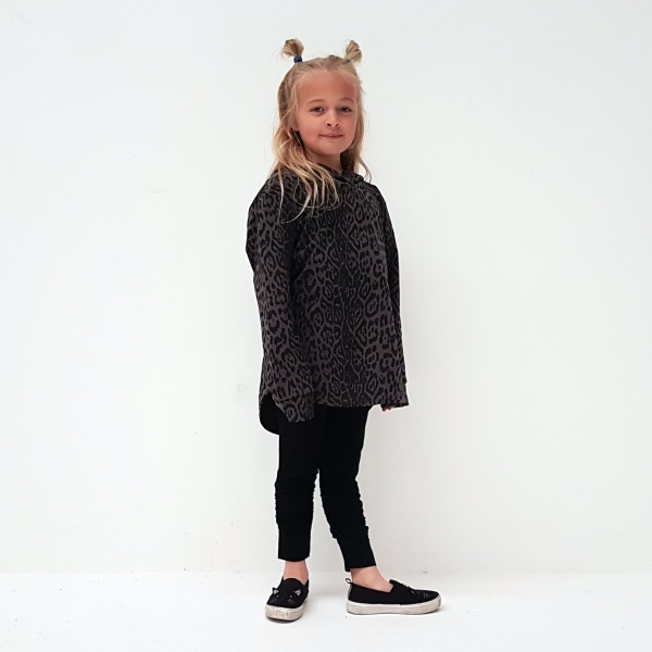 Funky Hoodie with a scooped drop hem at the back. Grey Leopard Print Fabric