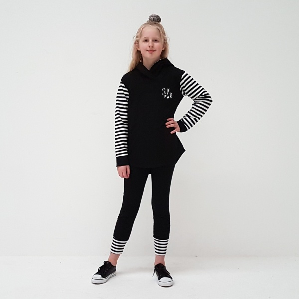 Funky Black hoodie with black & white striped sleeves. Girl PWR embroidery on the chest, lets hear it for the girls!