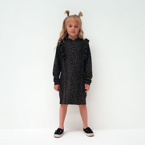 This gorgous Hoodie Dress features ruffles that go from the front, over the shoulders, to the back. In grey leopard print this is not only pretty, but super funky too!