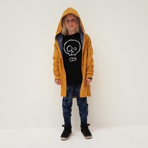 The ultimate in cool, this jacket features distressed fabric in a mustard/blue combo - perfection!