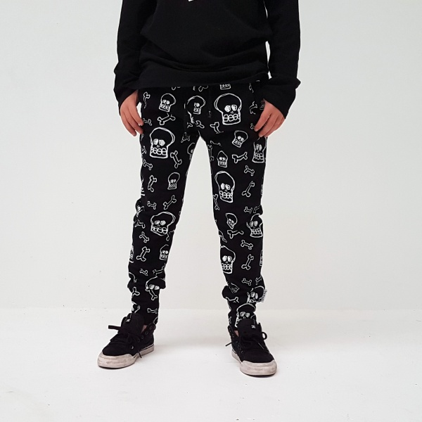 Awesome trackies in black with white skull print all over - super cool!