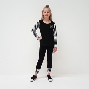 Who runs the world? Girls! Lets hear it for the girls with this funky black tee, with stripey sleeves, and funky Girl PWR embroidery on the chest