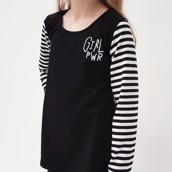 Who runs the world? Girls! Lets hear it for the girls with this funky black tee, with stripey sleeves, and funky Girl PWR embroidery on the chest.