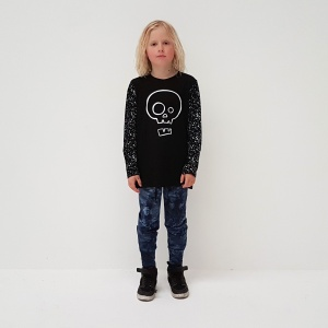 Black Splatter Skull Tee by Punk Baby