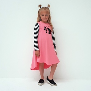This drop hem dress is pretty and punk! Blush pink with stripey sleeves, and a skull print on the front - perfection!