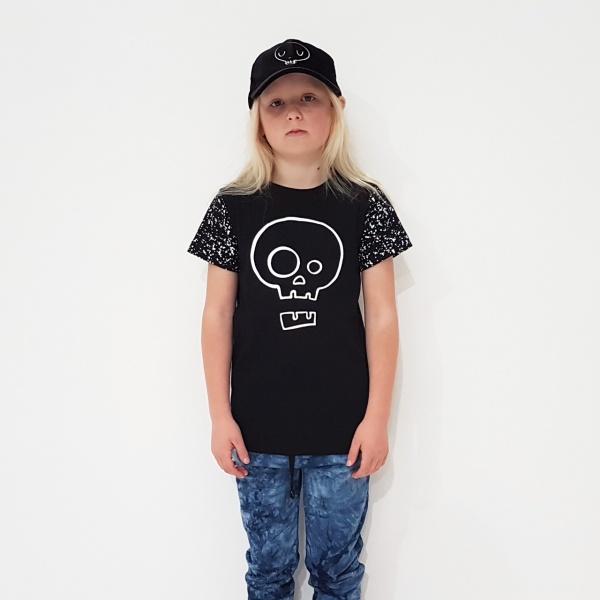 Black Splatter Skull Tee by Punk Baby
