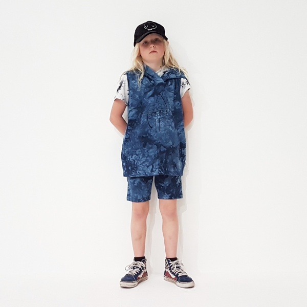 Blue Tie Dye Trackie Shorts by Punk Baby