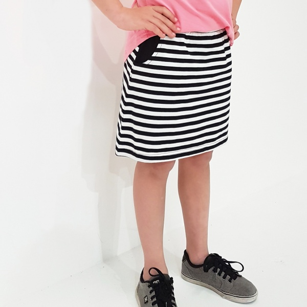 Black & White Stripe Kaitlyn Skirt by Punk Baby