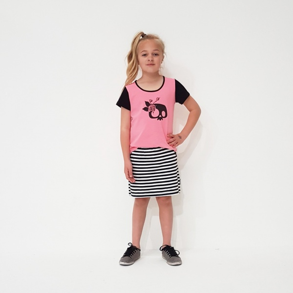 Black & White Stripe Kaitlyn Skirt by Punk Baby