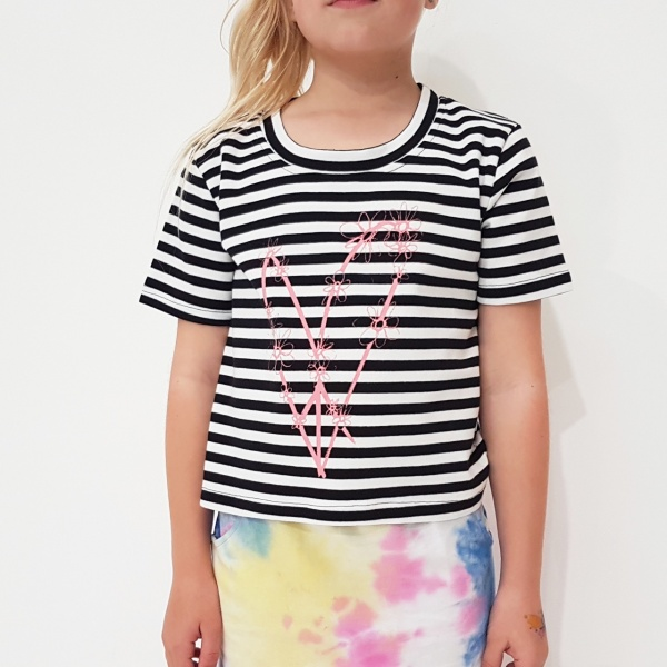 Peace Out Stripe Cropped Tee by Punk Baby