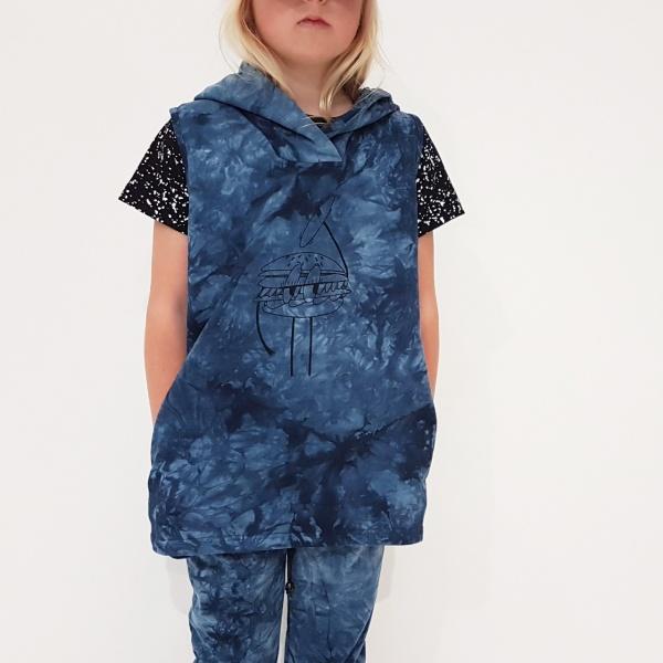 Tie Dye Hamburger Sleeveless Hoodie by Punk Baby